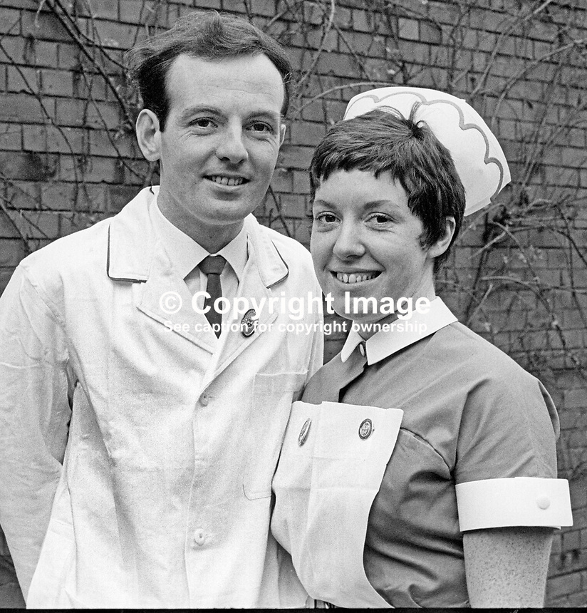 Gold medal winning nurses at Belfast City Hospital prizegiving, 2nd February 1970: James Patrick Sloan, from Kilkeel, Co Down, and Pauline Woods, Oldpark Road, Belfast, N Ireland. 197002020032<br /> <br /> Copyright Image from Victor Patterson, 54 Dorchester Park, Belfast, UK, BT9 6RJ<br /> <br /> t1: +44 28 9066 1296<br /> t2: +44 28 9002 2446<br /> m: +44 7802 353836<br /> <br /> e1: victorpatterson@me.com<br /> e2: victorpatterson@gmail.com<br /> <br /> www.victorpatterson.com<br /> <br /> IMPORTANT: Please see my Terms and Conditions of Use at www.victorpatterson.com