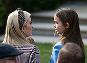 "First Daughter and Advisor to the President Ivanka Trump and her daughter, Arabella Rose Kushner, prior to United States President Donald J. Trump and First Lady Melania Trump hosting the National Thanksgiving Turkey Pardoning Ceremony in the Rose Garden of the White House in Washington, DC on Tuesday, November 20, 2018.  According to the White House Historical Association, the ceremony originated in 1863 when US President Abraham Lincoln's granted clemency to a turkey. The tradition jelled in 1989 when US President George HW Bush stated ""But let me assure you, and this fine tom turkey, that he will not end up on anyone's dinner table, not this guy -- he's granted a Presidential pardon as of right now -- and allow him to live out his days on a children's farm not far from here.""<br /> Credit: Ron Sachs / CNP<br /> (RESTRICTION: NO New York or New Jersey Newspapers or newspapers within a 75 mile radius of New York City)"
