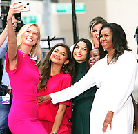 October 11, 2018  Karlie Kloss, Kelly Clarkson,  Zendaya, Freida Pinto,  Michelle Obama at Today Show announces the Obama Foundation's Global Girls Alliance to Support Adolescent Girls Education Around the World on International Day of the Girl   at Rockefeller Center Plaza in New York October 11, 2018 Credit:RW/MediaPunch