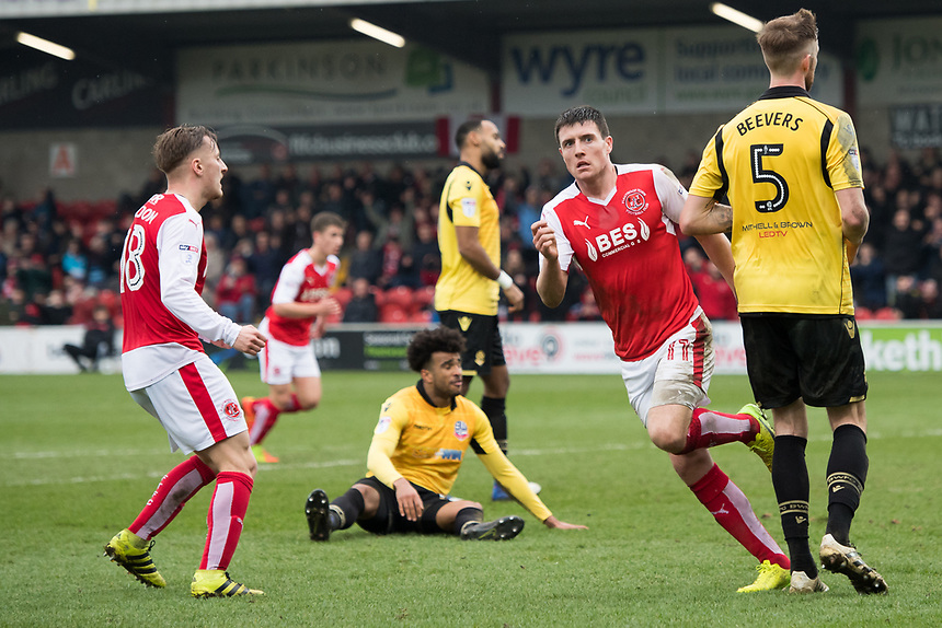 Fleetwood Town's Bobby Grant reels away after scoring his sides second goal but does not celebrate<br /> <br /> Photographer Terry Donnelly/CameraSport<br /> <br /> The EFL Sky Bet League One - Fleetwood Town v Bolton Wanderers - Saturday 11th March 2017 - Highbury Stadium - Fleetwood<br /> <br /> World Copyright &copy; 2017 CameraSport. All rights reserved. 43 Linden Ave. Countesthorpe. Leicester. England. LE8 5PG - Tel: +44 (0) 116 277 4147 - admin@camerasport.com - www.camerasport.com