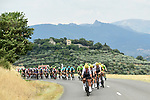 The peloton with Team Sky on the front during Stage 19 of the 104th edition of the Tour de France 2017, running 222.5km from Embrun to Salon-de-Provence, France. 21st July 2017.<br /> Picture: ASO/Alex Broadway | Cyclefile<br /> <br /> <br /> All photos usage must carry mandatory copyright credit (&copy; Cyclefile | ASO/Alex Broadway)