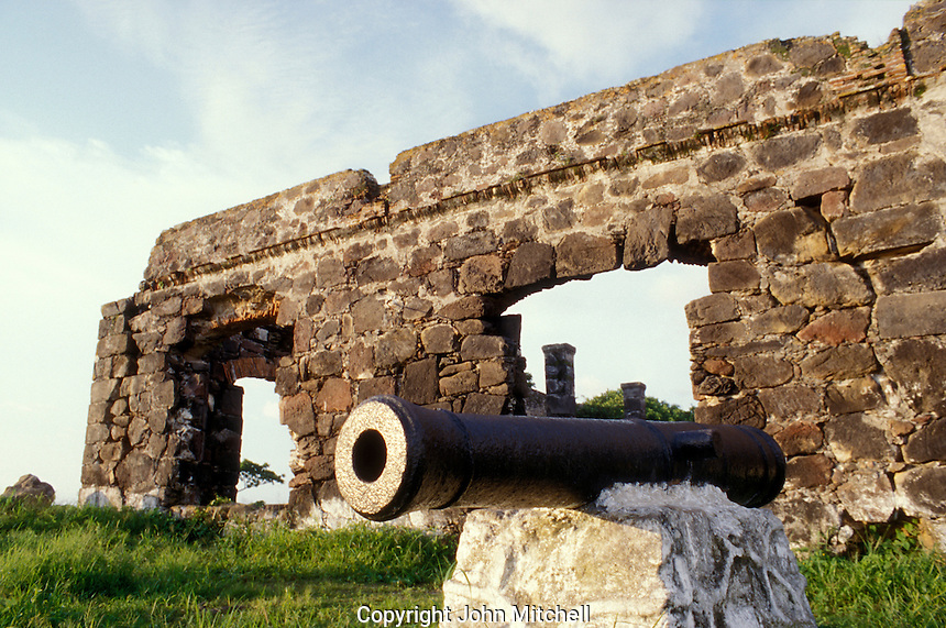 Ruins of La Contaduria, an 18th Century Spanish Counting House and fort on Cerro de La Contaduria overlooking the town of San Blas, Nayarit. Mexico