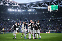 Gonzalo Higuain of Juventus celebrates with team mates after scoring the goal of 3-0 <br /> Torino 6-1-2020 Juventus Stadium <br /> Football Serie A 2019/2020 <br /> Juventus FC - Cagliari Calcio <br /> Photo Federico Tardito / Insidefoto