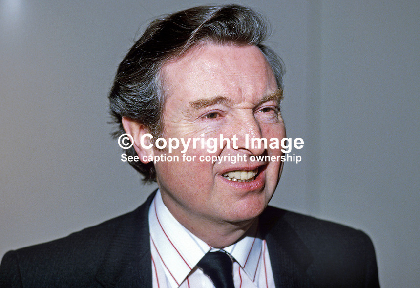 Peter Archer, MP, Labour Party, UK, N Ireland spokesman, 19840053PA1.<br /> <br /> Copyright Image from Victor Patterson,<br /> 54 Dorchester Park, <br /> Belfast, UK, BT9 <br /> <br /> t1: +44 28 9066 1296 (from Rep of Ireland 048 90661296)<br /> t2: +44 28 9002 2446 (from Rep of Ireland 048 9002 2446)<br /> <br /> m: +44 7802 353836<br /> <br /> e: victorpatterson@me.com<br /> www.victorpatterson.com<br /> <br /> Please see my Terms and Conditions of Use at www.victorpatterson.com. It is IMPORTANT that you familiarise yourself with them.<br /> <br /> Images used on the Internet must be visibly watermarked i.e. &copy; Victor Patterson<br /> within the body of the image and copyright metadata must not be deleted. Images <br /> used on the Internet have a size restriction of 4kbs and will be chargeable at current<br />  NUJ rates unless agreed otherwise.<br /> <br /> This image is only available for the use of the download recipient i.e. television station, newspaper, magazine, book publisher, etc, and must not be passed on to any third <br /> party. It is also downloaded on condition that each and every usage is notified within 7 days to victorpatterson@me.com<br /> <br /> The right of Victor Patterson to be identified as the author is asserted in accordance with The Copyright Designs And Patents Act (1988). All moral rights are asserted.