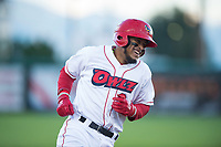 Orem Owlz third baseman Kevin Maitan (9) laughs as he rounds the bases after forgetting to touch first base on a home run during a Pioneer League game against the Ogden Raptors at Home of the OWLZ on August 24, 2018 in Orem, Utah. The Ogden Raptors defeated the Orem Owlz by a score of 13-5. (Zachary Lucy/Four Seam Images)