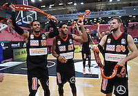 Basketball  1. Bundesliga  2016/2017  Hauptrunde  12. Spieltag  04.12.2016 Walter Tigers Tuebingen - ratiopharm Ulm JUBEL Ulm; Chriss Babb, Augustine Rubit und Taylor Braun (v.li.)