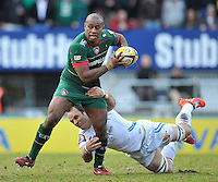 Seremaia Bai of Leicester Tigers is tackled. Aviva Premiership match, between Leicester Tigers and Exeter Chiefs on March 28, 2015 at Welford Road in Leicester, England. Photo by: Patrick Khachfe / JMP