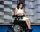 Anastasia Somoza of New York, NY, along with her twin sister, was diagnosed with cerebral palsy and spastic quadriplegia when she was born and is an advocate for Americans with intellectual and developmental disabilities makes remarks at the 2016 Democratic National Convention at the Wells Fargo Center in Philadelphia, Pennsylvania on Monday, July 25, 2016.<br /> Credit: Ron Sachs / CNP<br /> (RESTRICTION: NO New York or New Jersey Newspapers or newspapers within a 75 mile radius of New York City)