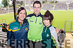 Pictured at the Kerry v Clare football championship semi-final held at Fitzgerald Stadium, Killarney on Sunday last were l-r: Carol O'Shea (Tuosist) Dan Cahillane (Templenoe) and Claire O'Shea (Tuosist).