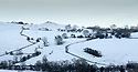 10/02/20<br /> <br /> A gritter lorry makes its way up towards Thorpe Village near Ashbourne Derbyshire.<br /> <br /> Snow falls on the Derbyshire Peak District.<br /> <br /> All Rights Reserved: F Stop Press Ltd.  <br /> +44 (0)7765 242650 www.fstoppress.com