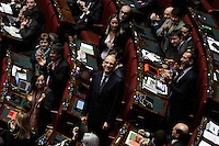 Enrico Letta, in Aula ride, mentre i deputati PD lo applaudono<br /> Roma 25-02-2014 Camera. Voto di fiducia al nuovo Governo.<br /> Senate. Trust vote for the new Government.<br /> Photo Samantha Zucchi Insidefoto
