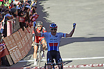 Zdenek Stybar (CZE) Etixx-Quick Step wins the 2015 Strade Bianche Eroica Pro cycle race with Greg Van Avermaet ((BEL) BMC Racing Team in 2nd place after 200km over the white gravel roads from San Gimignano to Siena, Tuscany, Italy. 8th March 2015<br /> Photo: Otto de Waele/www.newsfile.ie