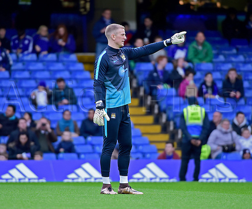 21.02.2016. Stamford Bridge, London, England. Emirates FA Cup 5th Round. Chelsea versus Manchester City. Manchester City's Joe Hart warms up