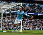 Leroy Sane of Manchester City celebrates scoring the first goal during the premier league match at the Etihad Stadium, Manchester. Picture date 22nd September 2017. Picture credit should read: Simon Bellis/Sportimage