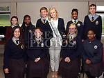 Rose of Tralee Elysha Brennan opens the new library at Gormanston College. pictured here with the choir.<br /> <br /> Photo: Jenny Matthews