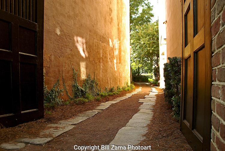 Old carriage path between buildings in Charleston SC
