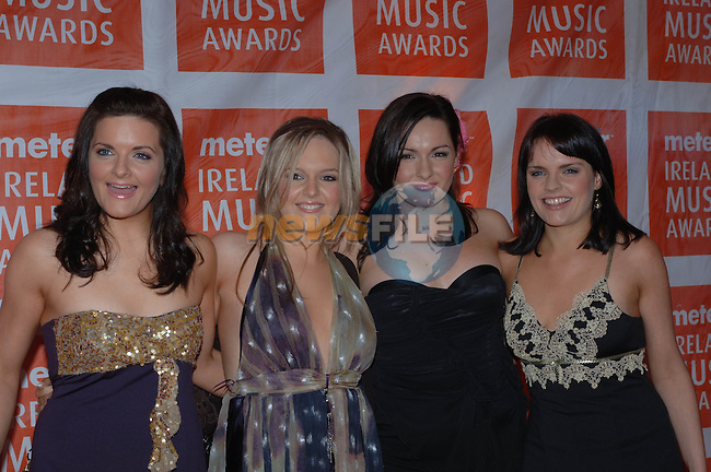Conway Sisters at the  Meteor Awards at the Point Depot in Dublin.Photo NEWSFILE/Colin Bell..(Photo credit should read Colin Bell/NEWSFILE)...This Picture has been sent you under the condtions enclosed by:.Newsfile Ltd..the Studio,.Millmount Abbey,.Drogheda,.Co Meath..Ireland..Tel: +353(0)41-9871240.Fax: +353(0)41-9871260.GSM: +353(0)86-2500958.email: pictures@newsfile.ie.www.newsfile.ie.FTP: 193.120.102.198..This picture is from Fran Caffrey@newsfile.ie
