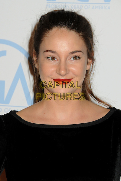 Shailene Woodley.23rd Annual Producers Guild Awards held at the Beverly Hilton Hotel, - Beverly Hills, California, USA, .21st January 2012..portrait headshot red  lipstick hair up ponytail black velvet  .CAP/ADM/BP.©Byron Purvis/AdMedia/Capital Pictures.