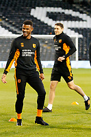 Fraizer Campbell of Hull City warms up during the Sky Bet Championship match between Fulham and Hull City at Craven Cottage, London, England on 13 September 2017. Photo by Carlton Myrie.