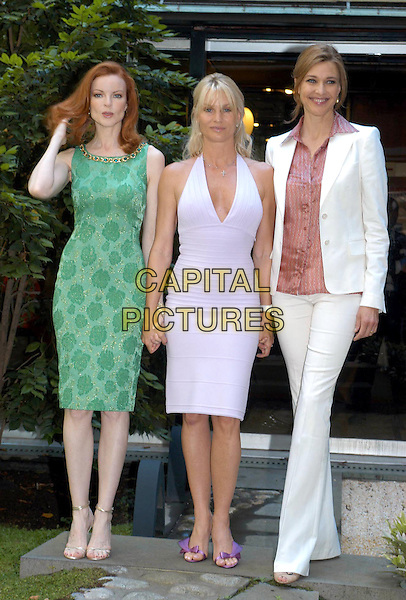 "MARCIA CROSS, NICOLLETTE SHERIDAN & BRENDA STRONG.Meeting with the ""Desperate Housewives"" cast in Rome, Italy..June 27th, 2005.full length lilac purple halterneck dress purple sandals green sleeveless dress white pantsuit trousers jacket Nicolette.www.capitalpictures.com.sales@capitalpictures.com.© Capital Pictures."
