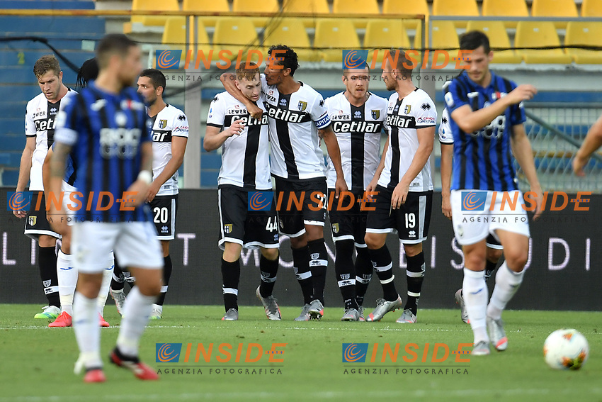 Dejan Kulusevski of Parma celebrates with team mates after scoring the goal of 1-0 during the Serie A football match between Parma Calcio and Atalanta BC at Ennio Tardini stadium in Parma (Italy), July 28th, 2020. Play resumes behind closed doors following the outbreak of the coronavirus disease. Photo Andrea Staccioli / Insidefoto