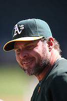 OAKLAND, CA - APRIL 11:  Jason Giambi of the Oakland Athletics takes batting practice before the game against the Seattle Mariners at the Oakland-Alameda County Coliseum in Oakland, California on Saturday, April 11, 2009.  The Mariners defeated the A's 8-5.  Photo by Brad Mangin