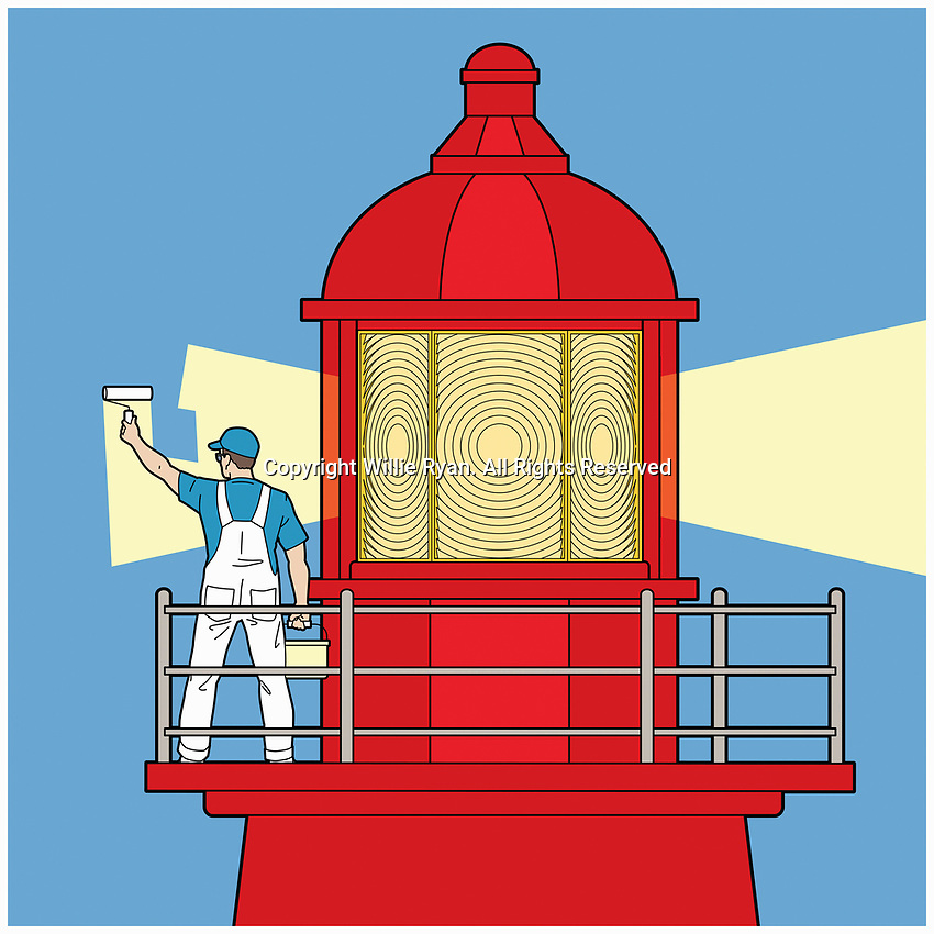 Decorator painting light beam on lighthouse
