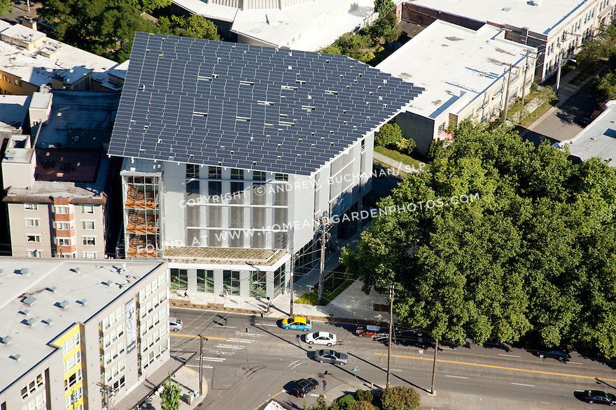 aerial photo of Seattle's Bullitt Center, the greenest commercial building in the world
