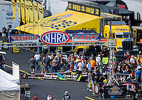 Sep 17, 2016; Concord, NC, USA; NHRA top fuel driver Clay Millican during qualifying for the Carolina Nationals at zMax Dragway. Mandatory Credit: Mark J. Rebilas-USA TODAY Sports