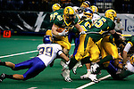 FARGO, ND - NOVEMBER 22th, 2008 : South Dakota State line backer Derek Domino comes up with the stop on Tyler Roehl of North Dakota State during their game Saturday evening at the Fargodome on the campus of North Dakota State University in Fargo, ND. (Photo By Ty Carlson/Inertia)