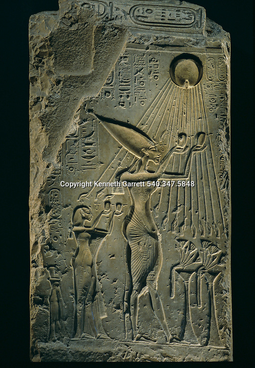 Relief of Akhenaten under Aten, balustrade, Amenhotep IV, Tutankhamun and the Golden Age of the Pharaohs, Page 108