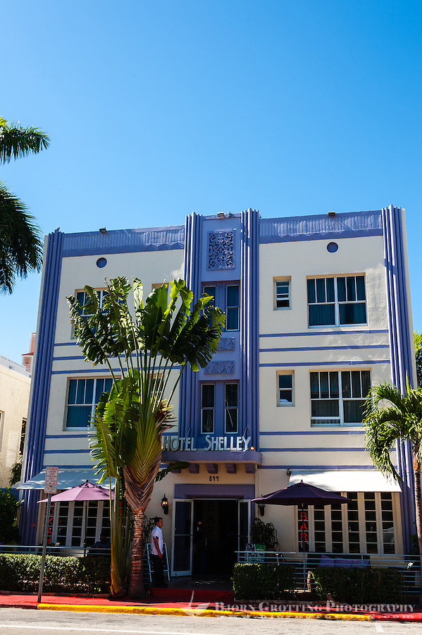 US, Florida, Miami Beach. Art Deco, Hotel Shelley, Collins Ave.