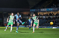 Adebayo Akinfenwa of Wycombe Wanderers hits a shot at goal during the Sky Bet League 2 match between Wycombe Wanderers and Yeovil Town at Adams Park, High Wycombe, England on 14 January 2017. Photo by Andy Rowland / PRiME Media Images.