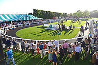 The Parade ring in the sunshine during Evening Racing at Salisbury Racecourse on 25th May 2019