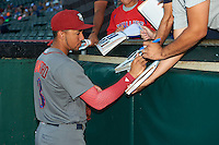 Lehigh Valley IronPigs shortstop J.P. Crawford (3) signs autographs before a game against the Buffalo Bisons on August 29, 2016 at Coca-Cola Field in Buffalo, New York.  Buffalo defeated Lehigh Valley 3-2.  (Mike Janes/Four Seam Images)