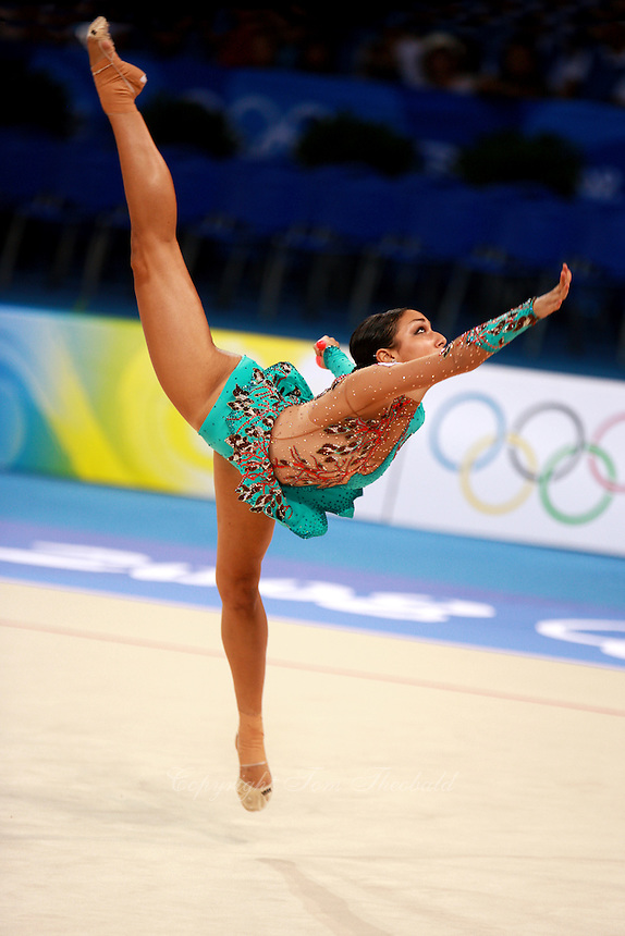 August 22, 2008; Beijing, China; Rhythmic gymnast Alexandra Orlando of Canada performs with clubs on way to placing 18th in the qualifying at 2008 Beijing Olympics. Copyright 2008 Tom Theobald