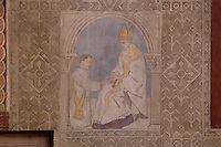 Eucharist, small frescoes by Joseph Radan in the ambulatory, depicting the seven sacraments, 20th century, Nanterre Cathedral (Cathédrale Sainte-Geneviève-et-Saint-Maurice de Nanterre), 1924 - 1937, by architects Georges Pradelle and Yves-Marie Froidevaux, Nanterre, Hauts-de-Seine, France. Picture by Manuel Cohen