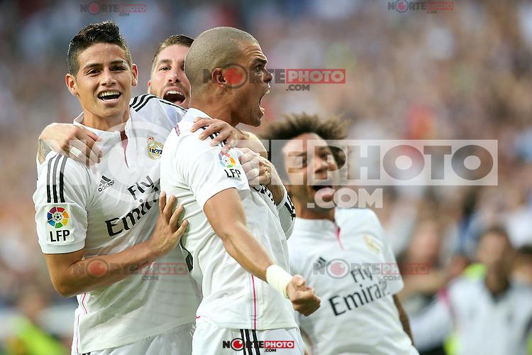Real Madrid's James Rodriguez, Sergio Ramos, Pepe and Marcelo Vieira celebrate goal during La Liga match.October 25,2014. (ALTERPHOTOS/Acero) /nortephoto.com