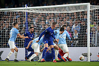 After a goalmouth scramble in the Malmo penalty area the ball rolls just wide of their goal during Chelsea vs Malmo FF, UEFA Europa League Football at Stamford Bridge on 21st February 2019