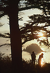 Olympic National Park, Ozette, Capr Alava, Washington State, Pacific Northwest, couple photographing, sea stacks, sunset,  Pacific Ocean, Northwest coast, Olympic Peninsula, North America, USA,.
