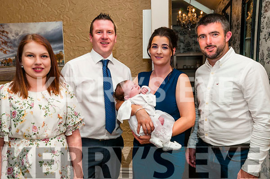 Baby Aoife, daughter of Jennifer & John Gleeson, Listowel and god parents Antonia Gleeson & David Ryan who was christened in St. Mary's Church, Listowel by Canon Declan O'Connor on Saturday last and afterwards at Eabha Joan's Restaurant, Listowel.