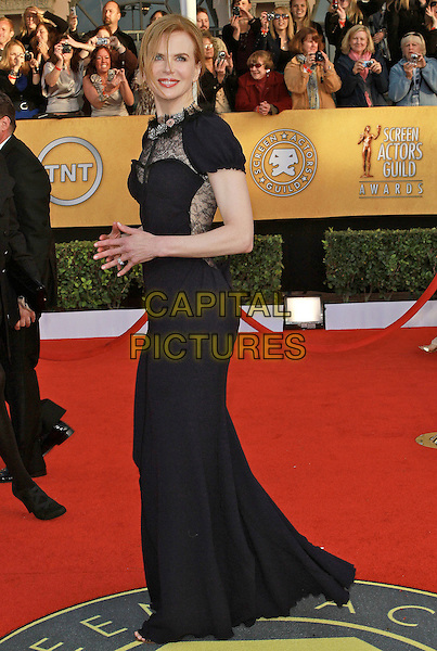 NICOLE KIDMAN .wearing Nina Ricci .at the 17th Screen Actors Guild Awards held at The Shrine Auditorium in Los Angeles, California, USA,.January 30th 2011..SAG Sags arrivals full length black navy blue long maxi dress lace sheer see thru thorugh side .CAP/ADM/KB.©Kevan Brooks/AdMedia/Capital Pictures.