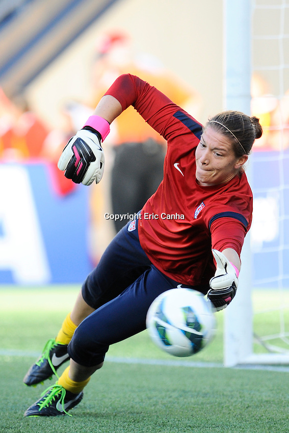 US Women's National goalkeeper Nicole Barnart (18) warming up before the International Friendly soccer match between the USA Women's National team and the Korea Republic Women's Team held at Gillette Stadium in Foxborough Massachusetts.   Eric Canha/CSM