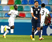Ghana's Frank Acheampong (L) celebrate his goal during their FIFA U-20 World Cup Turkey 2013 Group Stage Group A soccer match Ghana betwen USA at the Kadir Has stadium in Kayseri on June 27, 2013. Photo by Aykut AKICI/isiphotos.com