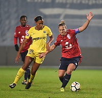 2018013 - LILLE , FRANCE : LOSC's Maud Coutereels (R) and PSG's Marie Laure Delie (L) pictured during the women soccer game between the women teams of Lille OSC and Paris Saint Germain  during the 13 th matchday for the Championship D1 Feminines at stade Lille Metropole , Saturday 13th of January ,  PHOTO Dirk Vuylsteke | Sportpix.Be