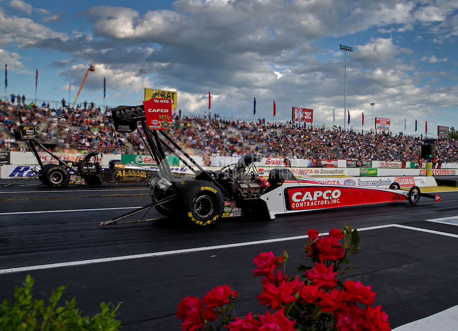 May 30, 2014; Englishtown, NJ, USA; NHRA top fuel driver Steve Torrence during qualifying for the Summernationals at Raceway Park. Mandatory Credit: Mark J. Rebilas-