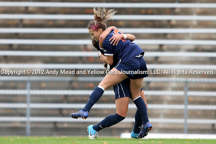 28 October 2012: Virginia's Caroline Miller (10) celebrates her goal with Danielle Colaprico (behind). The University of North Carolina Tar Heels played the University of Virginia Cavaliers at Fetzer Field in Chapel Hill, North Carolina in a 2012 NCAA Division I Women's Soccer game. Virginia defeated UNC 1-0 in their Atlantic Coast Conference quarterfinal match.