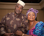 Musa Garwba dressed in a traditional African Print Dashiki and Sube Garwba dressed in traditional Aso-oke print