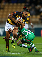 Sean Wainui of Taranaki during the Mitre 10 Cup Ranfurly Shield Rugby Match between Taranaki and Manawatu at Yarrow Stadium, New Plymouth, Auckland,  New Zealand. Wednesday 11th October 2017. Photo: Simon Watts / www.bwmedia.co.nz