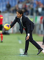 Football, Serie A: S.S. Lazio - Udinese Olympic stadium, Rome, December 1, 2019. <br /> Lazio's coach Simone Inzaghi picks up the ball during the Italian Serie A football match between S.S. Lazio and Udinese at Rome's Olympic stadium, Rome on December 1, 2019.<br /> UPDATE IMAGES PRESS/Isabella Bonotto
